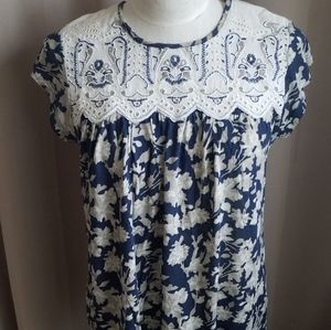 New Anthropologie Small Top Tunic Blue Motif